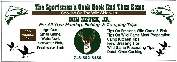 Don Netek Jr's Wild Game Cookbook, wildgame cooking recipes, catering by Don Netek